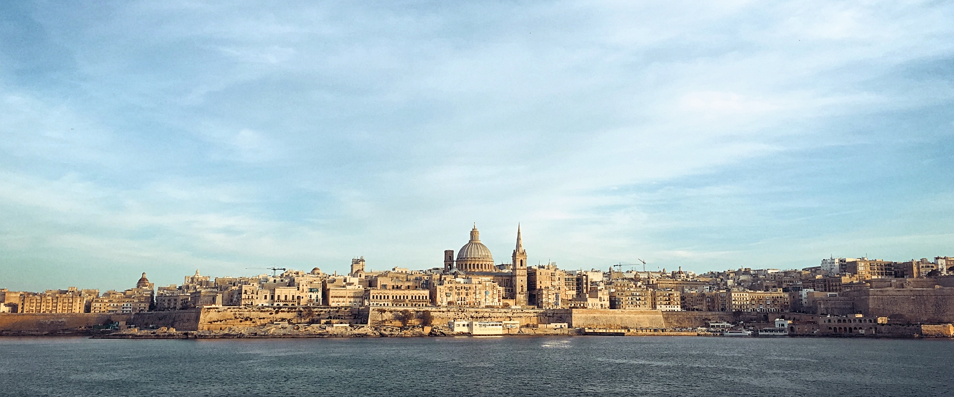 Valletta the capital of Malta, sunset on a spring day