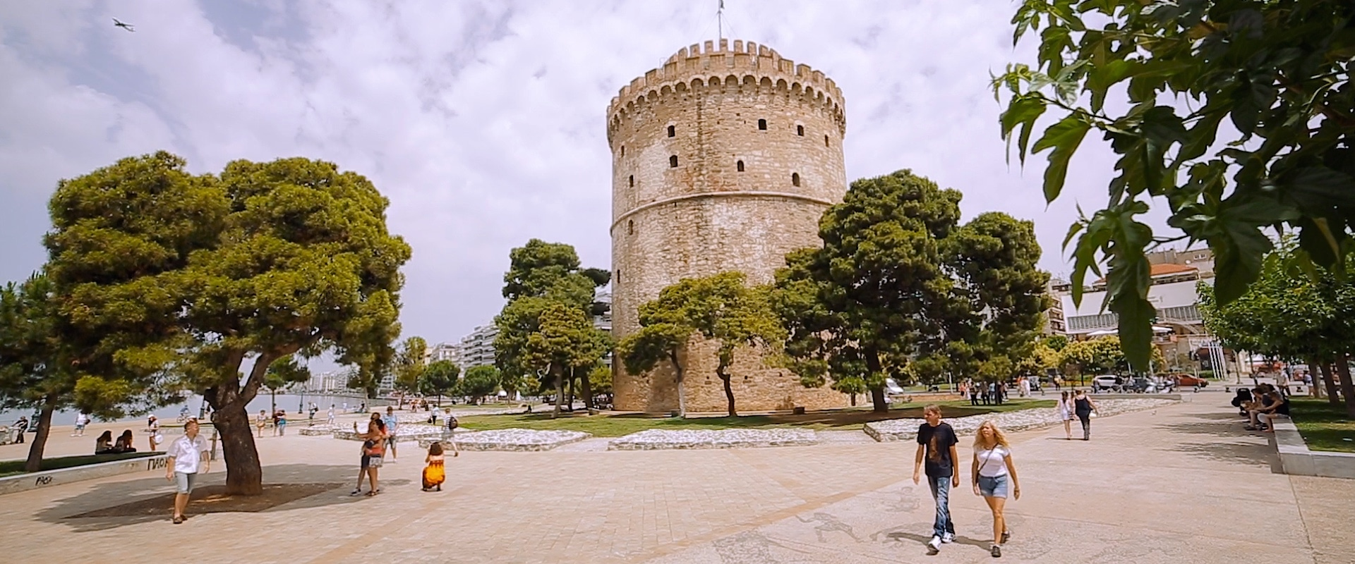 Shot of the White tower of Thessaloniki in a Greek wedding video