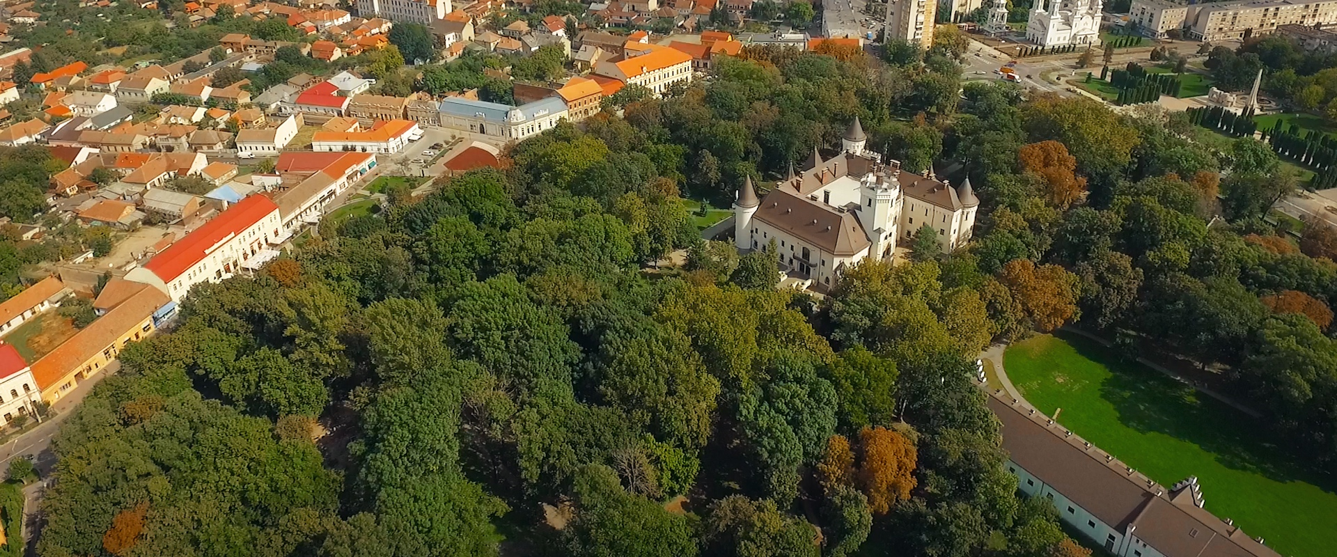 Karolyi Castle aerial view in Carei, Transylvania