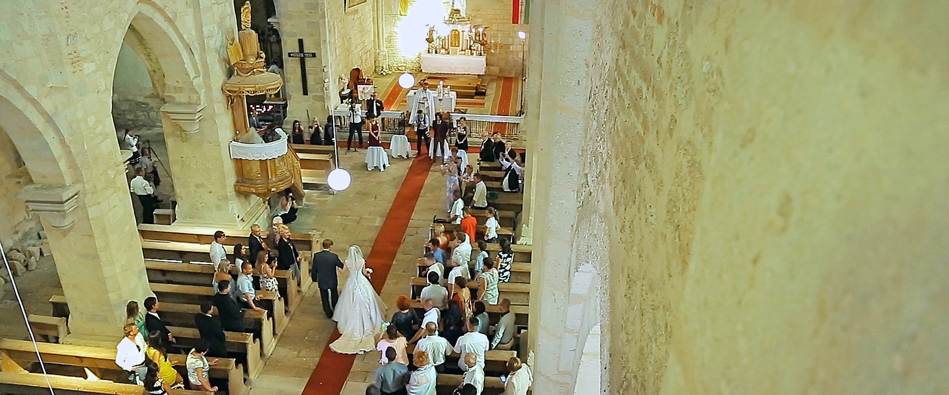 Wedding ceremony at Roman-Catholic church in Belapatfalva, Hungary