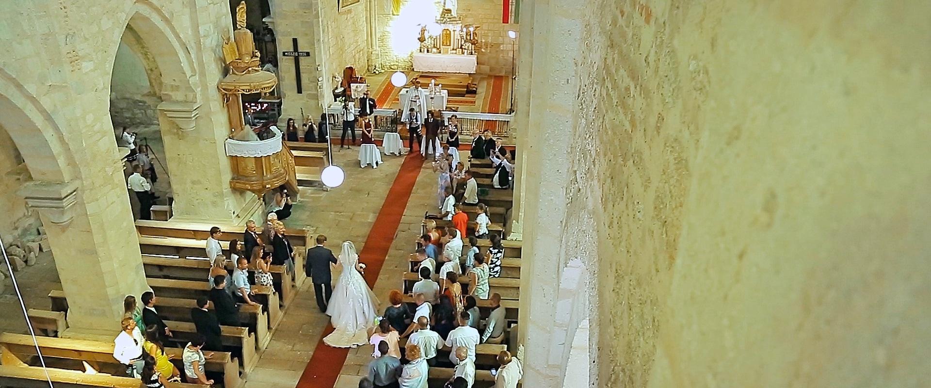 Wedding ceremony at Roman-Catholic church in Belapatfalva, Hungary